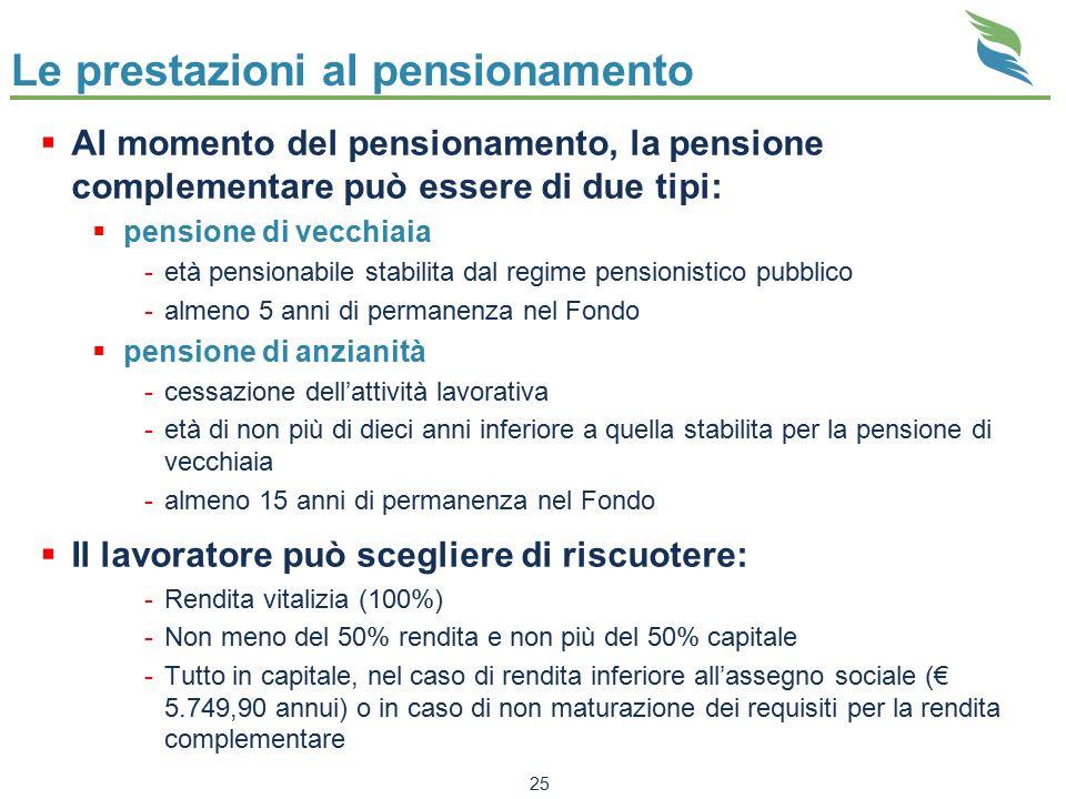 25 Le prestazioni al pensionamento  Al momento del pensionamento, la pensione complementare può essere di due tipi:  pensione di vecchiaia -età pens