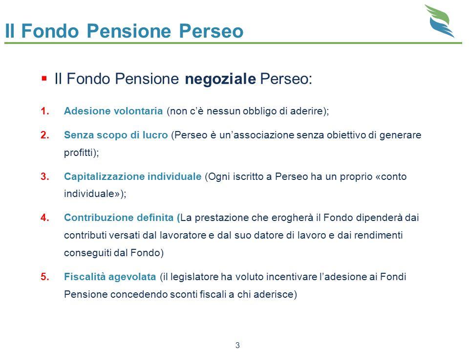 Il Fondo Pensione Perseo  Il Fondo Pensione negoziale Perseo: 1.Adesione volontaria (non c'è nessun obbligo di aderire); 2.Senza scopo di lucro (Pers