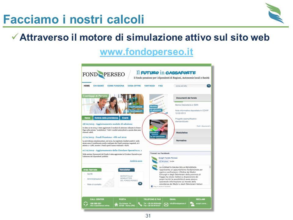 Facciamo i nostri calcoli Attraverso il motore di simulazione attivo sul sito web www.fondoperseo.it 31