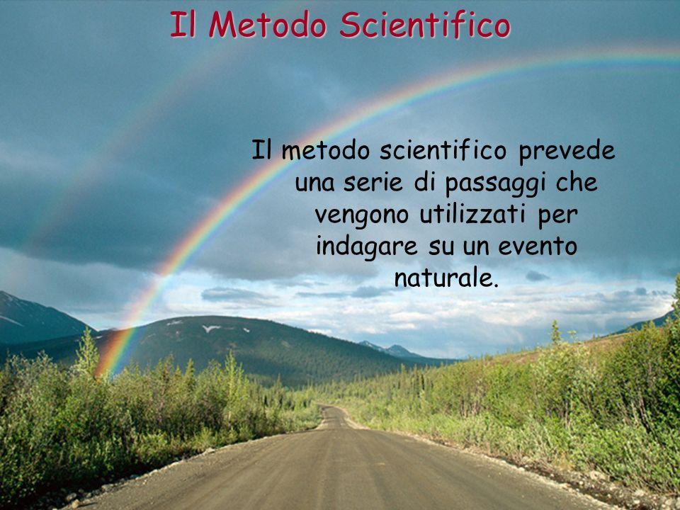 Il metodo scientifico prevede una serie di passaggi che vengono utilizzati per indagare su un evento naturale. Il Metodo Scientifico