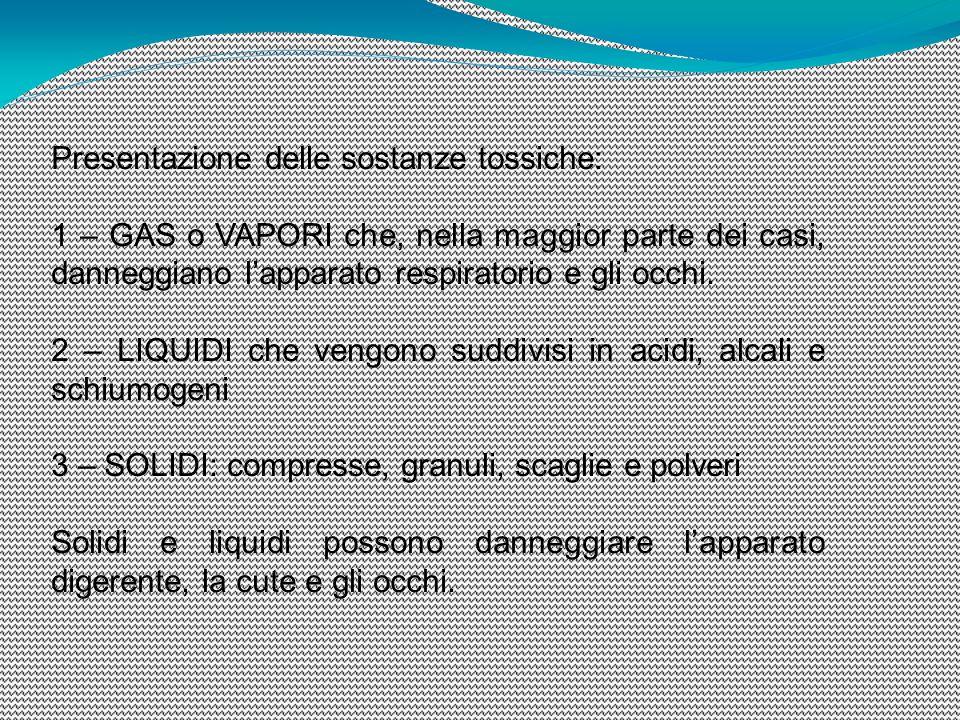 Presentazione delle sostanze tossiche: 1 – GAS o VAPORI che, nella maggior parte dei casi, danneggiano l'apparato respiratorio e gli occhi. 2 – LIQUID