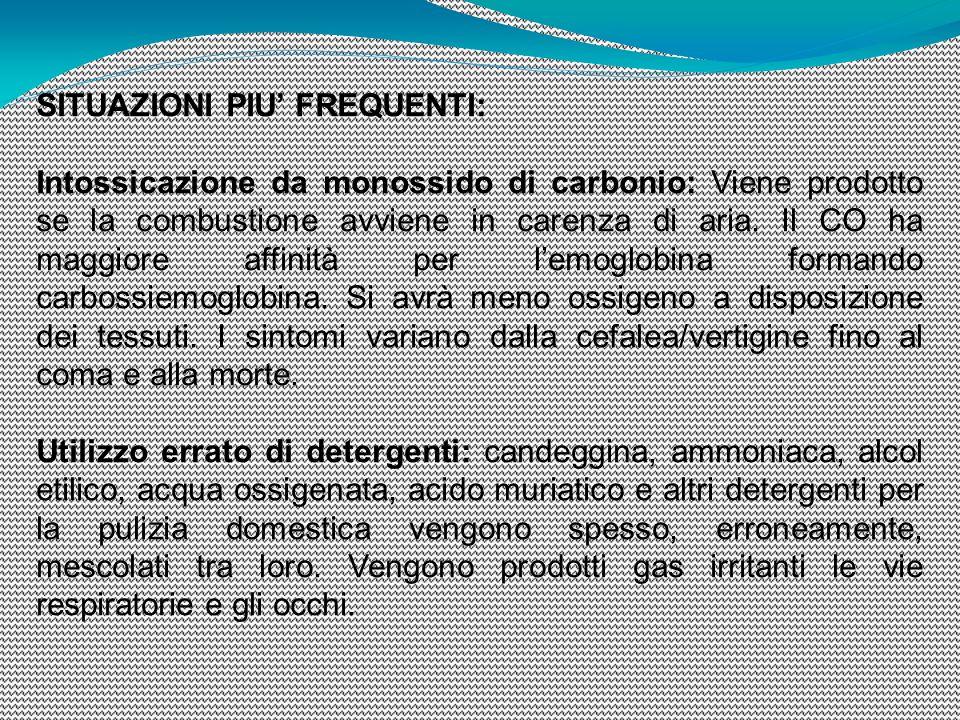 SITUAZIONI PIU' FREQUENTI: Intossicazione da monossido di carbonio: Viene prodotto se la combustione avviene in carenza di aria. Il CO ha maggiore aff