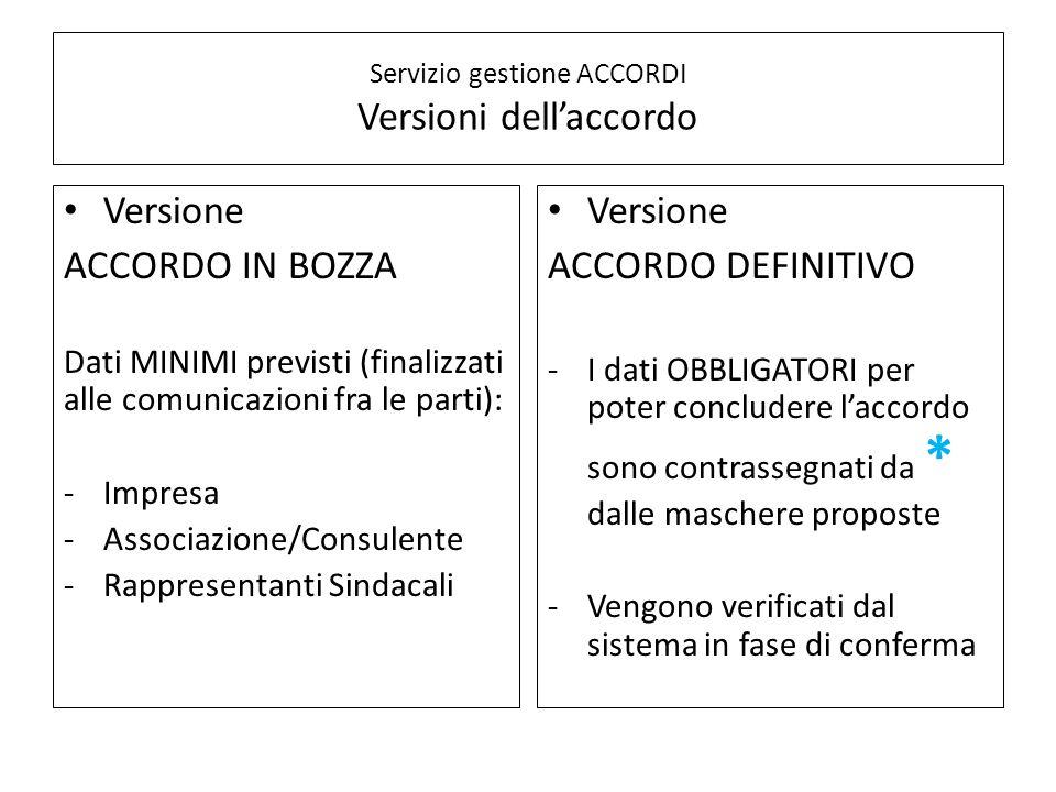 Servizio gestione ACCORDI Versioni dell'accordo Versione ACCORDO IN BOZZA Dati MINIMI previsti (finalizzati alle comunicazioni fra le parti): -Impresa