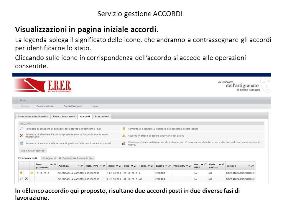 Servizio gestione ACCORDI Visualizzazioni in pagina iniziale accordi. La legenda spiega il significato delle icone, che andranno a contrassegnare gli