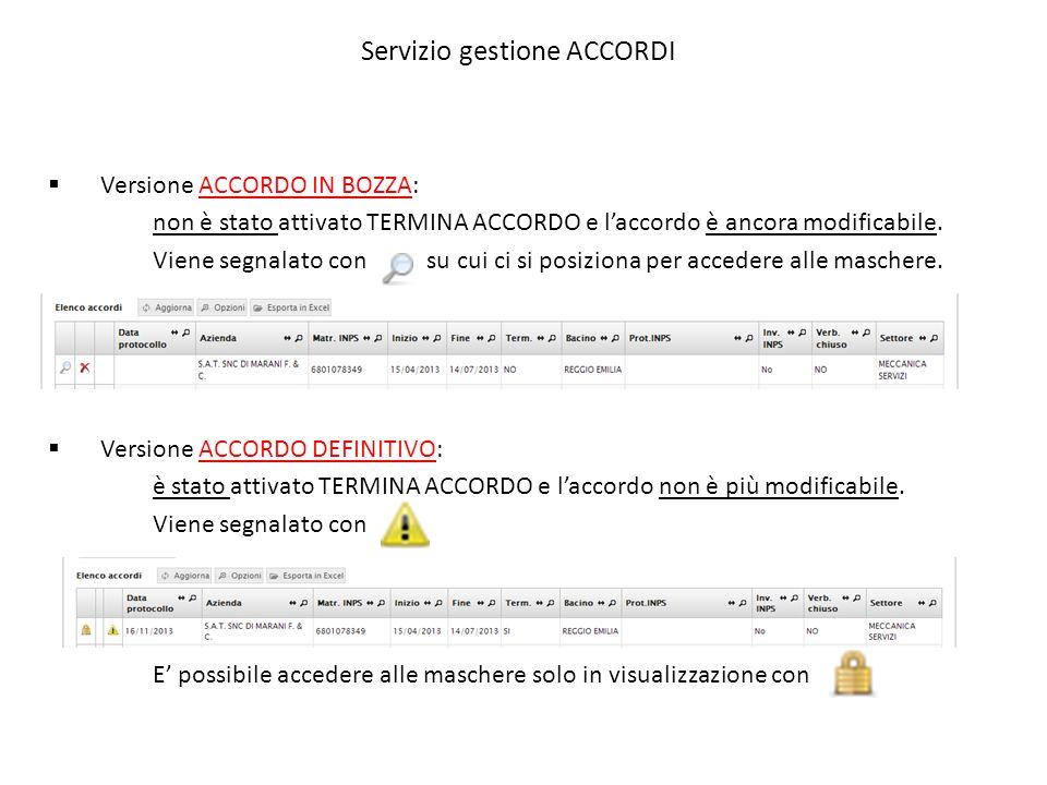 Servizio gestione ACCORDI  Versione ACCORDO IN BOZZA: non è stato attivato TERMINA ACCORDO e l'accordo è ancora modificabile. Viene segnalato con su