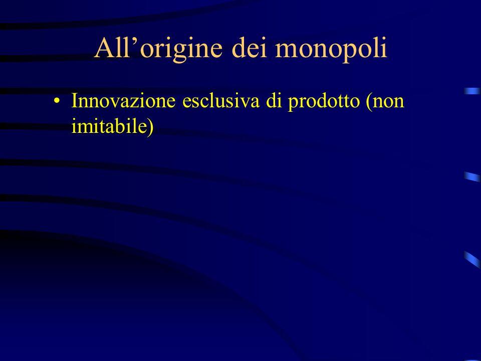 All'origine dei monopoli Innovazione esclusiva di prodotto (non imitabile)