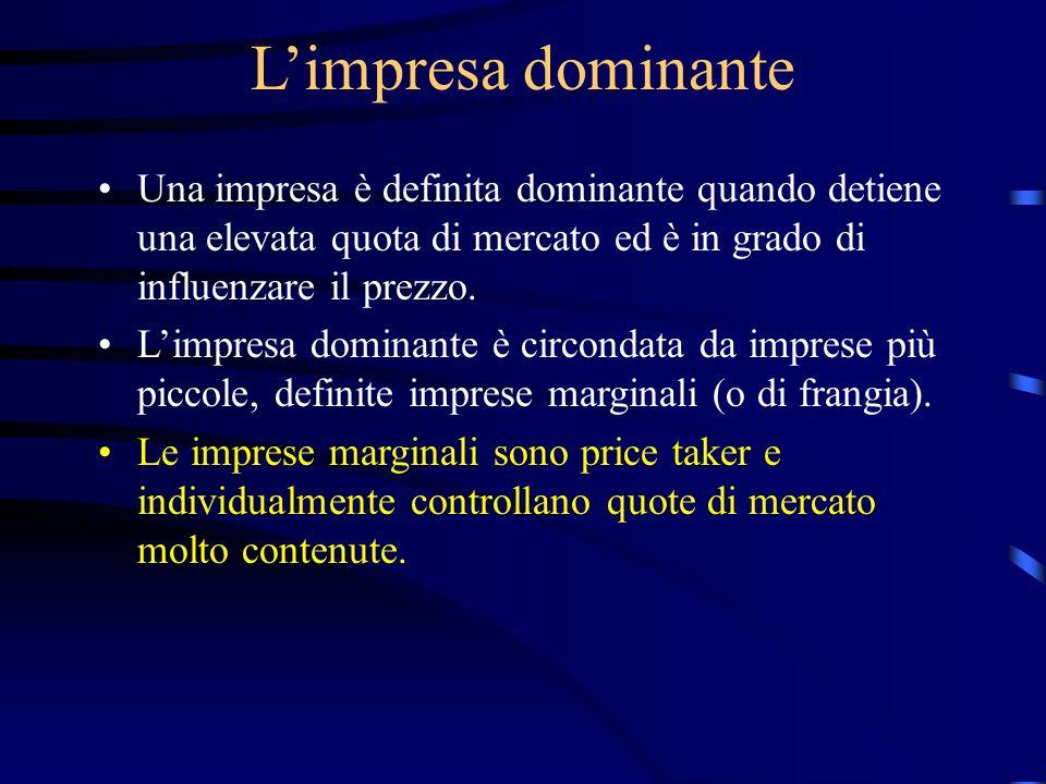 L'impresa dominante Una impresa è definita dominante quando detiene una elevata quota di mercato ed è in grado di influenzare il prezzo.