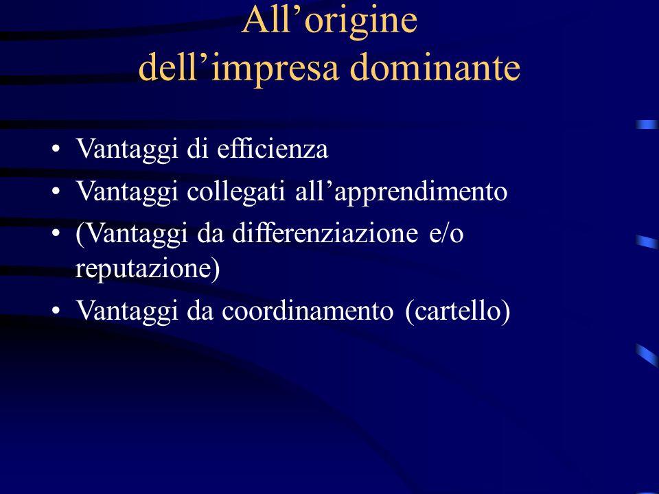 All'origine dell'impresa dominante Vantaggi di efficienza Vantaggi collegati all'apprendimento (Vantaggi da differenziazione e/o reputazione) Vantaggi da coordinamento (cartello)