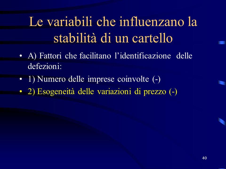 40 Le variabili che influenzano la stabilità di un cartello A) Fattori che facilitano l'identificazione delle defezioni: 1) Numero delle imprese coinvolte (-) 2) Esogeneità delle variazioni di prezzo (-)