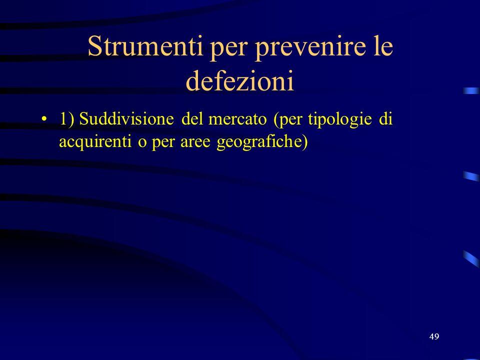 49 Strumenti per prevenire le defezioni 1) Suddivisione del mercato (per tipologie di acquirenti o per aree geografiche)