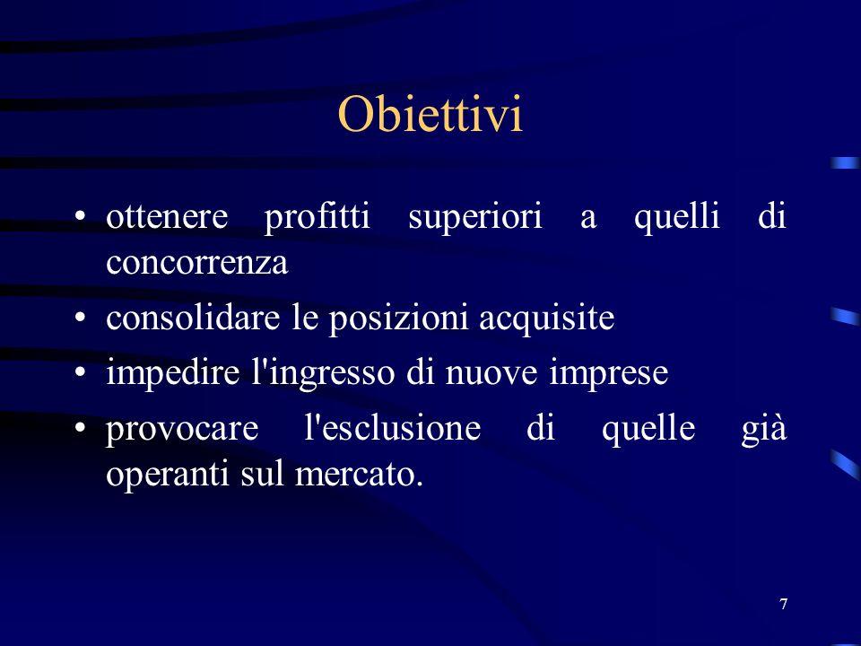 7 Obiettivi ottenere profitti superiori a quelli di concorrenza consolidare le posizioni acquisite impedire l ingresso di nuove imprese provocare l esclusione di quelle già operanti sul mercato.