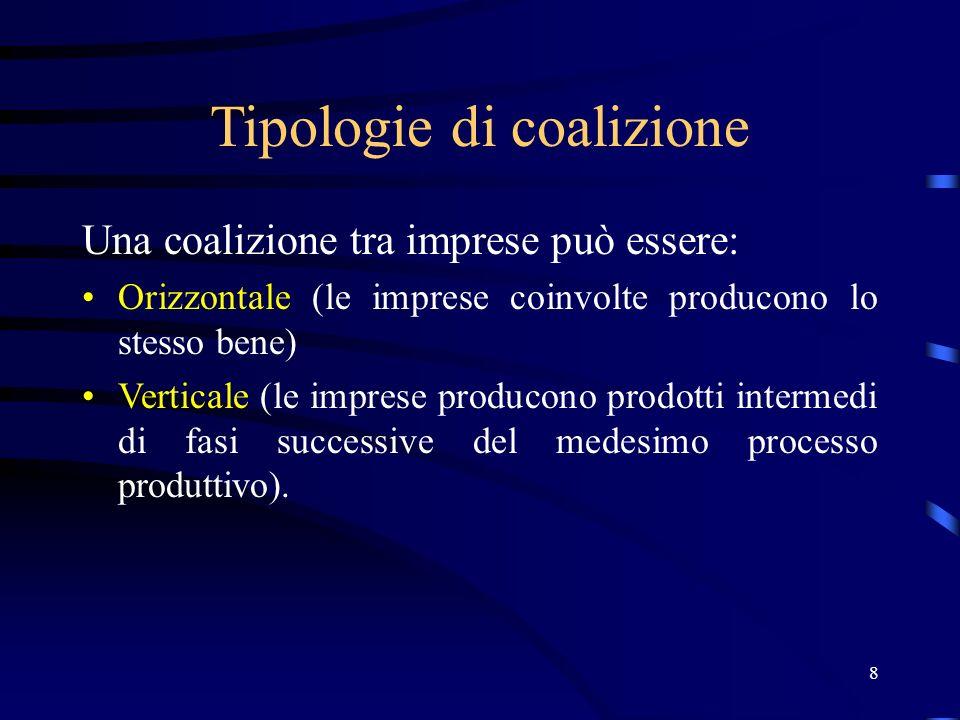 8 Tipologie di coalizione Una coalizione tra imprese può essere: Orizzontale (le imprese coinvolte producono lo stesso bene) Verticale (le imprese producono prodotti intermedi di fasi successive del medesimo processo produttivo).
