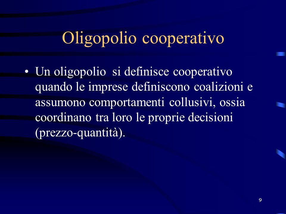 9 Oligopolio cooperativo Un oligopolio si definisce cooperativo quando le imprese definiscono coalizioni e assumono comportamenti collusivi, ossia coordinano tra loro le proprie decisioni (prezzo-quantità).