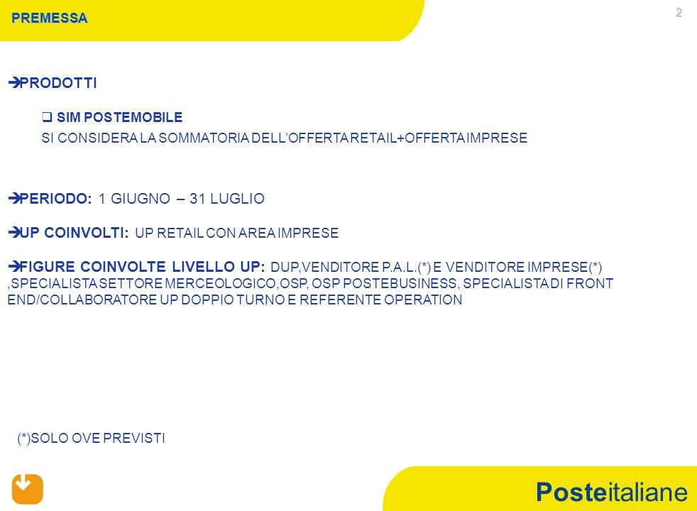 Posteitaliane 3 CAMPAGNA COMMERCIALE SIM POSTEMOBILE   CONDIZIONE DI ACCESSO A LIVELLO ITALIA   RAGGIUNGIMENTO DEL 93% DELL'OBIETTIVO ITALIA A VOLUMI SIM CARD VENDUTE DEL PERIODO GIUGNO-LUGLIO (OFFERTA RETAIL +OFFERTA IMPRESE)   INCIDENZA DELLE SIM CARD VENDUTE CON RICHIESTA DI MOBILE NUMBER PORTABILITY (MNP) NEL PERIODO GIUGNO-LUGLIO SUL TOTALE SIM CARD VENDUTE NELLO STESSO PERIODO PARI AD ALMENO IL 70% (OFFERTA RETAIL +OFFERTA IMPRESE)
