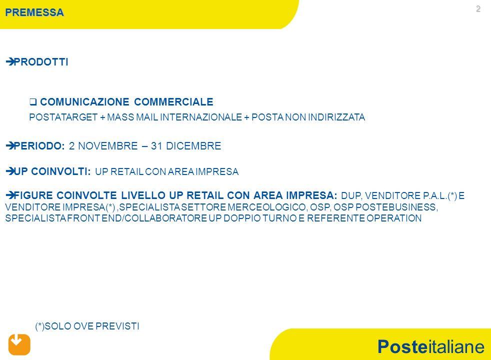 Posteitaliane 3 CONDIZIONE DI ACCESSO E MECCANISMI DI FUNZIONAMENTO   RAGGIUNGIMENTO DEL 95% DELL'OBIETTIVO DELL'UP RETAIL CON AREA IMPRESA A RICAVI NEL PERIODO 2 NOVEMBRE – 31 DICEMBRE 2010 SUL TOTALE COMUNICAZIONE COMMERCIALE (POSTATARGET + MASS MAIL INTERNAZIONALE + POSTA NON INDIRIZZATA) NEGLI UP RETAIL CON AREA IMPRESA CHE HANNO MATURATO LA CONDIZIONE DI ACCESSO SARA' RICONOSCIUTO A CIASCUNA RISORSA COINVOLTA, UN BONUS DI IMPORTO FISSO (VEDI SLIDE 4) SUPERATA LA CONDIZIONE DI ACCESSO SARA' RICONOSCIUTO A CIASCUNA RISORSA DELL'UP RETAIL CON AREA IMPRESA UN EXTRA BONUS DI 1€ OGNI 75 € DI RICAVI AGGIUNTIVI OLTRE IL 95% DELL'OBIETTIVO REALIZZATI NEL PERIODO 2 NOVEMBRE – 31 DICEMBRE 2010 NEL RISPETTO DEI TETTI MASSIMI STABILITI PER FIGURA PROFESSIONALE (VEDI SLIDE 4) Attenzione:il valore dell'extrabonus viene calcolato con arrotondamento alla prima cifra decimale anche nel caso in cui i ricavi aggiuntivi oltre il 95% dovessero risultare inferiori a 75€ UP RETAIL CON AREA IMPRESA CAMPAGNA COMUNICAZIONE COMMERCIALE