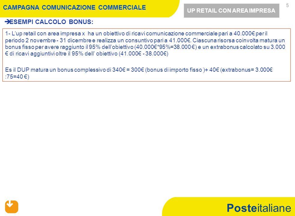 Posteitaliane 5   ESEMPI CALCOLO BONUS: 1- L'up retail con area impresa x ha un obiettivo di ricavi comunicazione commerciale pari a 40.000€ per il periodo 2 novembre - 31 dicembre e realizza un consuntivo pari a 41.000€.