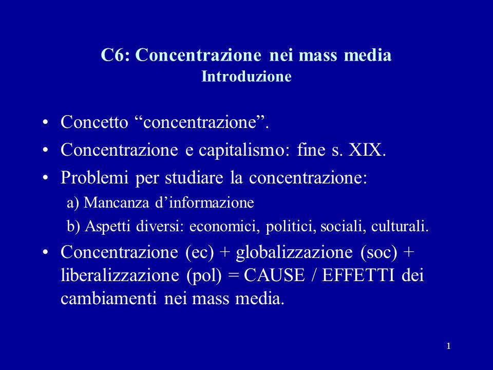 1 C6: Concentrazione nei mass media Introduzione Concetto concentrazione .