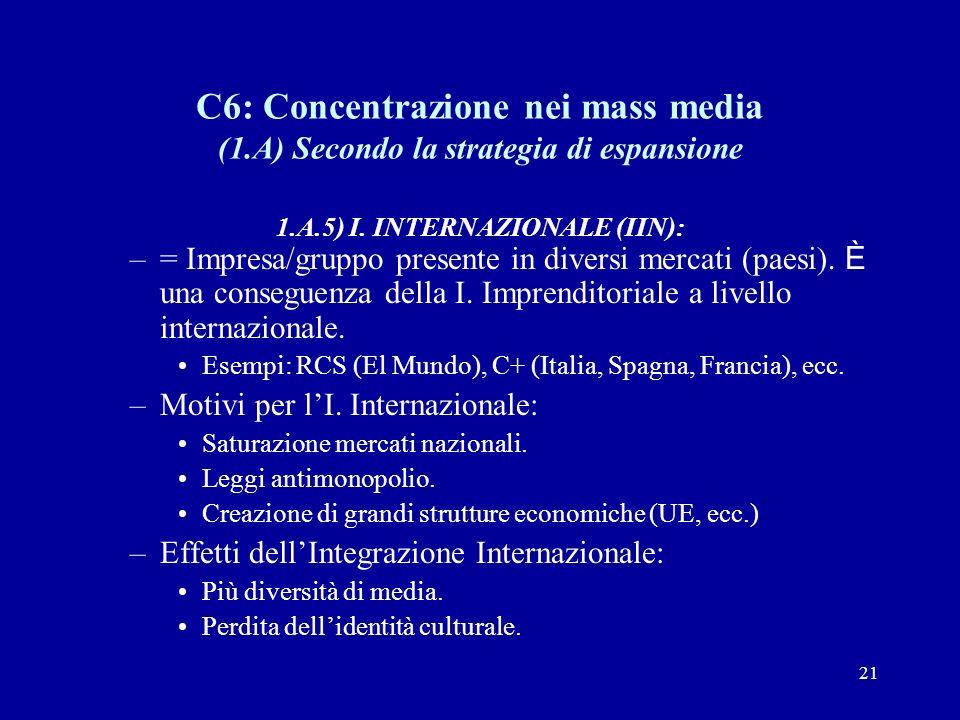 21 C6: Concentrazione nei mass media (1.A) Secondo la strategia di espansione 1.A.5) I.