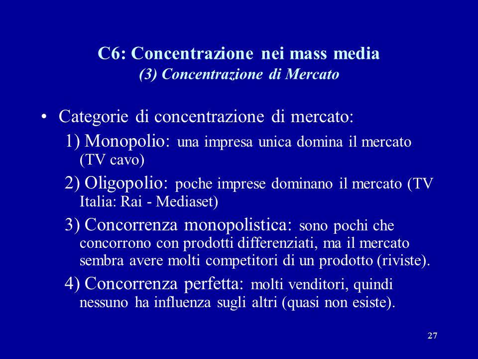 27 C6: Concentrazione nei mass media (3) Concentrazione di Mercato Categorie di concentrazione di mercato: 1) Monopolio: una impresa unica domina il mercato (TV cavo) 2) Oligopolio: poche imprese dominano il mercato (TV Italia: Rai - Mediaset) 3) Concorrenza monopolistica: sono pochi che concorrono con prodotti differenziati, ma il mercato sembra avere molti competitori di un prodotto (riviste).