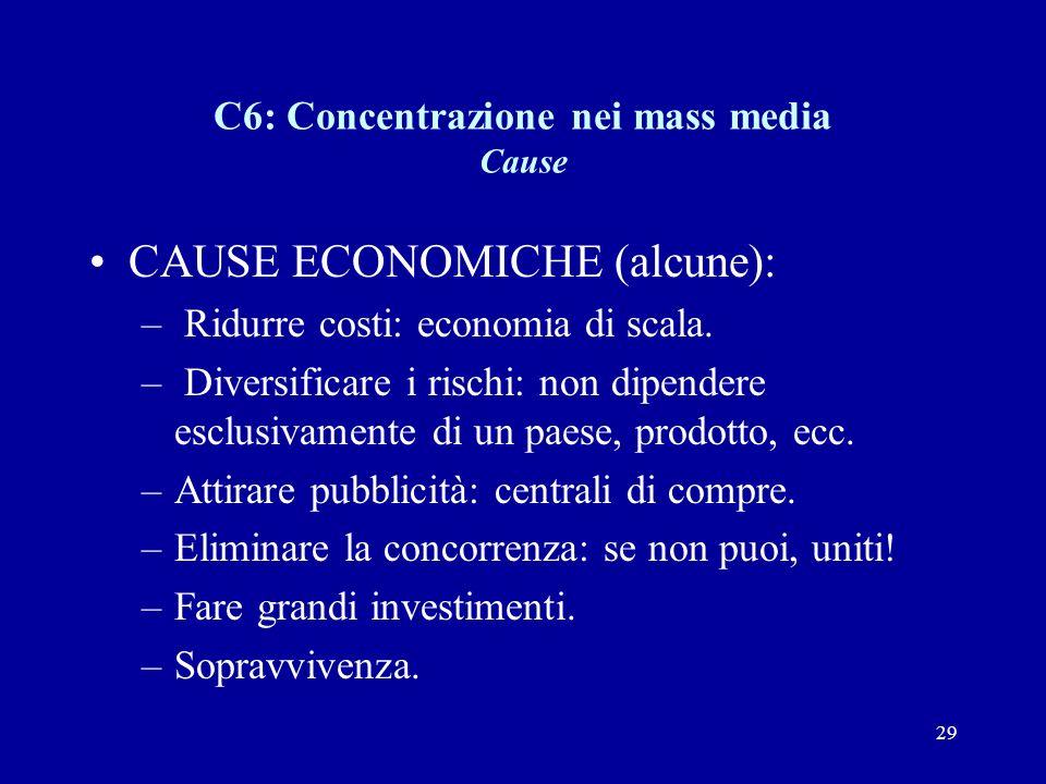 29 C6: Concentrazione nei mass media Cause CAUSE ECONOMICHE (alcune): – Ridurre costi: economia di scala.