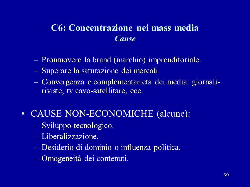 30 C6: Concentrazione nei mass media Cause –Promuovere la brand (marchio) imprenditoriale.
