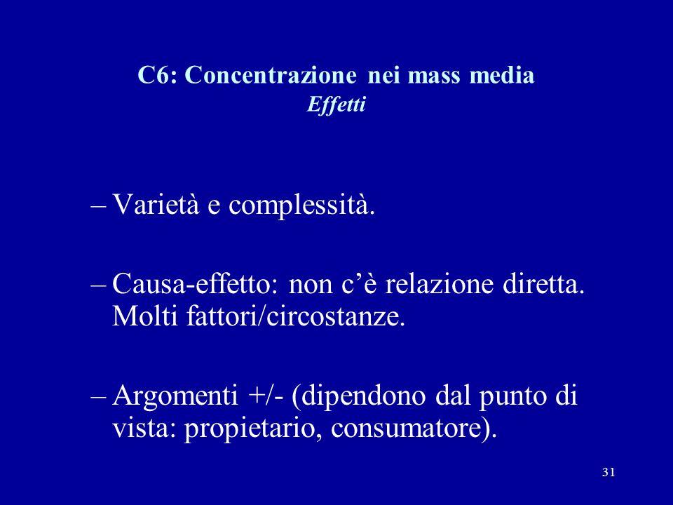 31 C6: Concentrazione nei mass media Effetti –Varietà e complessità.