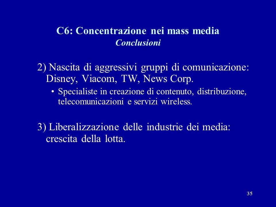 35 C6: Concentrazione nei mass media Conclusioni 2) Nascita di aggressivi gruppi di comunicazione: Disney, Viacom, TW, News Corp.