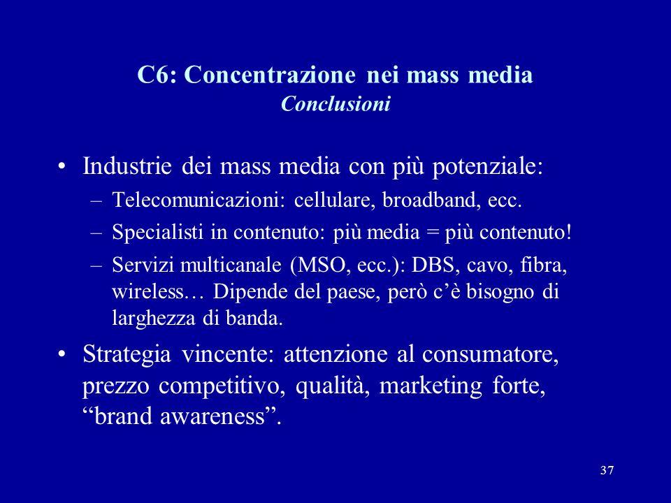 37 C6: Concentrazione nei mass media Conclusioni Industrie dei mass media con più potenziale: –Telecomunicazioni: cellulare, broadband, ecc.