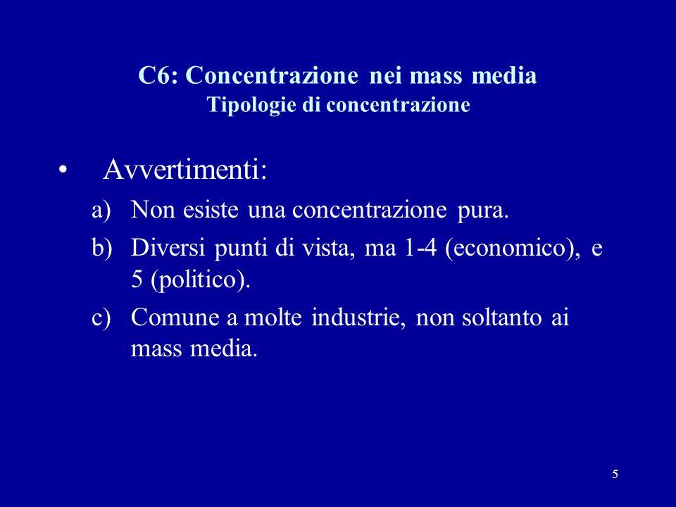 5 C6: Concentrazione nei mass media Tipologie di concentrazione Avvertimenti: a)Non esiste una concentrazione pura.