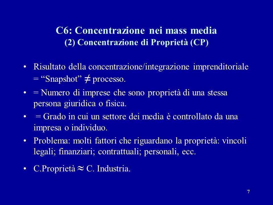 7 C6: Concentrazione nei mass media (2) Concentrazione di Proprietà (CP) Risultato della concentrazione/integrazione imprenditoriale = Snapshot ≠ processo.