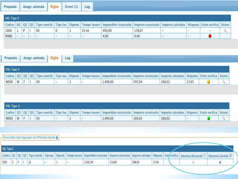 In caso di differenza denunciato/calcolato è possibile scegliere cosa importare nel Vig. (L'esempio non è riferito alla riga sovrastante)