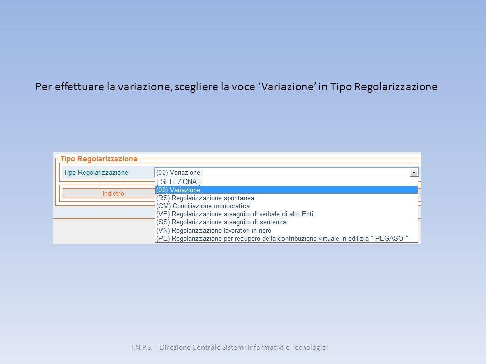 Per effettuare la variazione, scegliere la voce 'Variazione' in Tipo Regolarizzazione