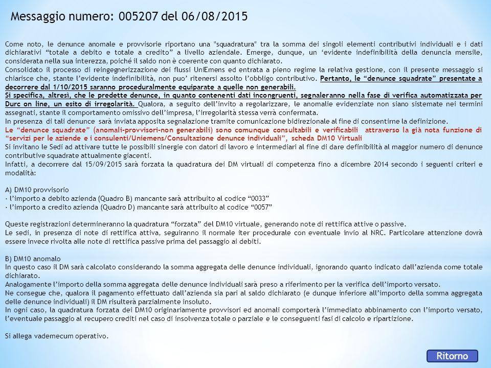Messaggio numero: 005207 del 06/08/2015 Come noto, le denunce anomale e provvisorie riportano una