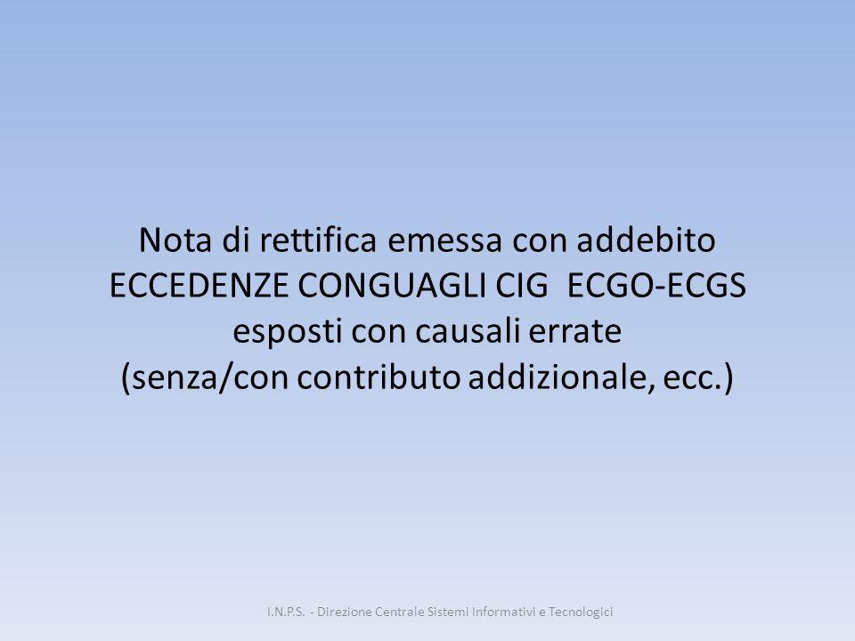 Nota di rettifica emessa con addebito ECCEDENZE CONGUAGLI CIG ECGO-ECGS esposti con causali errate (senza/con contributo addizionale, ecc.) I.N.P.S. -