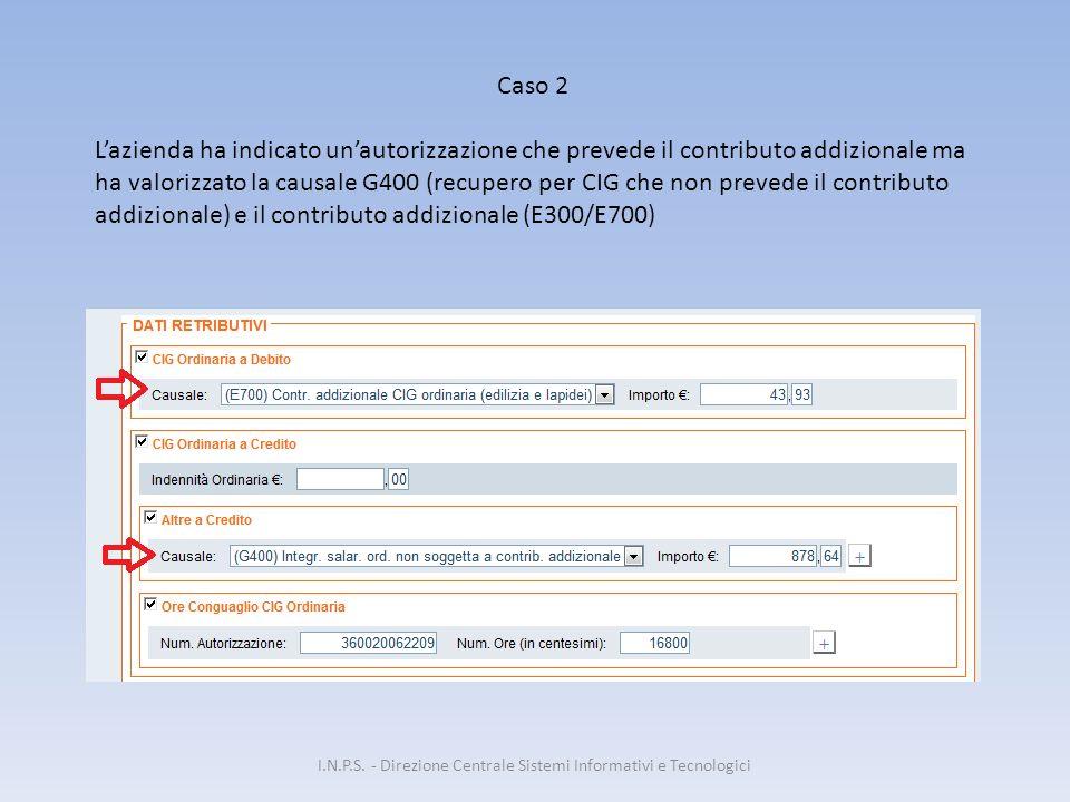 I.N.P.S. - Direzione Centrale Sistemi Informativi e Tecnologici Caso 2 L'azienda ha indicato un'autorizzazione che prevede il contributo addizionale m
