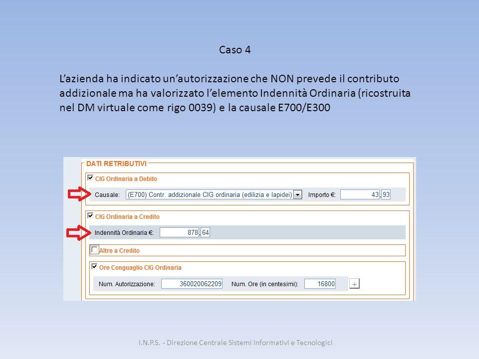 I.N.P.S. - Direzione Centrale Sistemi Informativi e Tecnologici Caso 4 L'azienda ha indicato un'autorizzazione che NON prevede il contributo addiziona