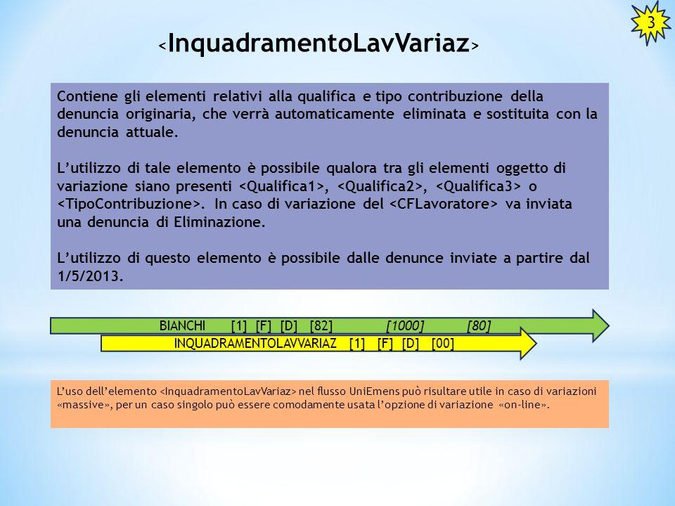 Contiene gli elementi relativi alla qualifica e tipo contribuzione della denuncia originaria, che verrà automaticamente eliminata e sostituita con la