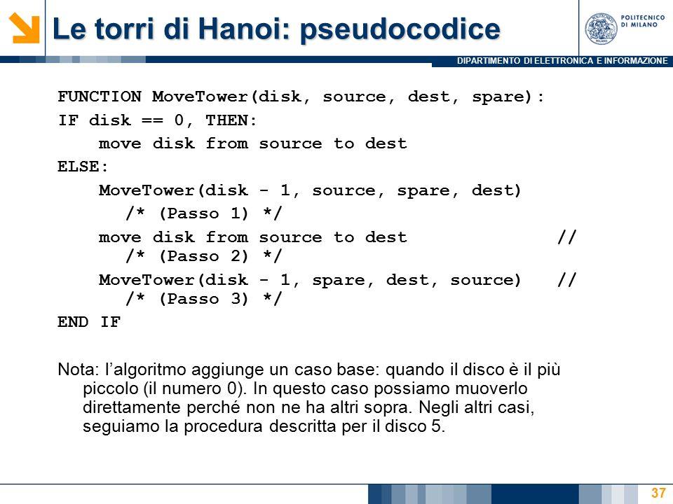 DIPARTIMENTO DI ELETTRONICA E INFORMAZIONE Le torri di Hanoi: pseudocodice FUNCTION MoveTower(disk, source, dest, spare): IF disk == 0, THEN: move disk from source to dest ELSE: MoveTower(disk - 1, source, spare, dest) /* (Passo 1) */ move disk from source to dest // /* (Passo 2) */ MoveTower(disk - 1, spare, dest, source) // /* (Passo 3) */ END IF Nota: l'algoritmo aggiunge un caso base: quando il disco è il più piccolo (il numero 0).