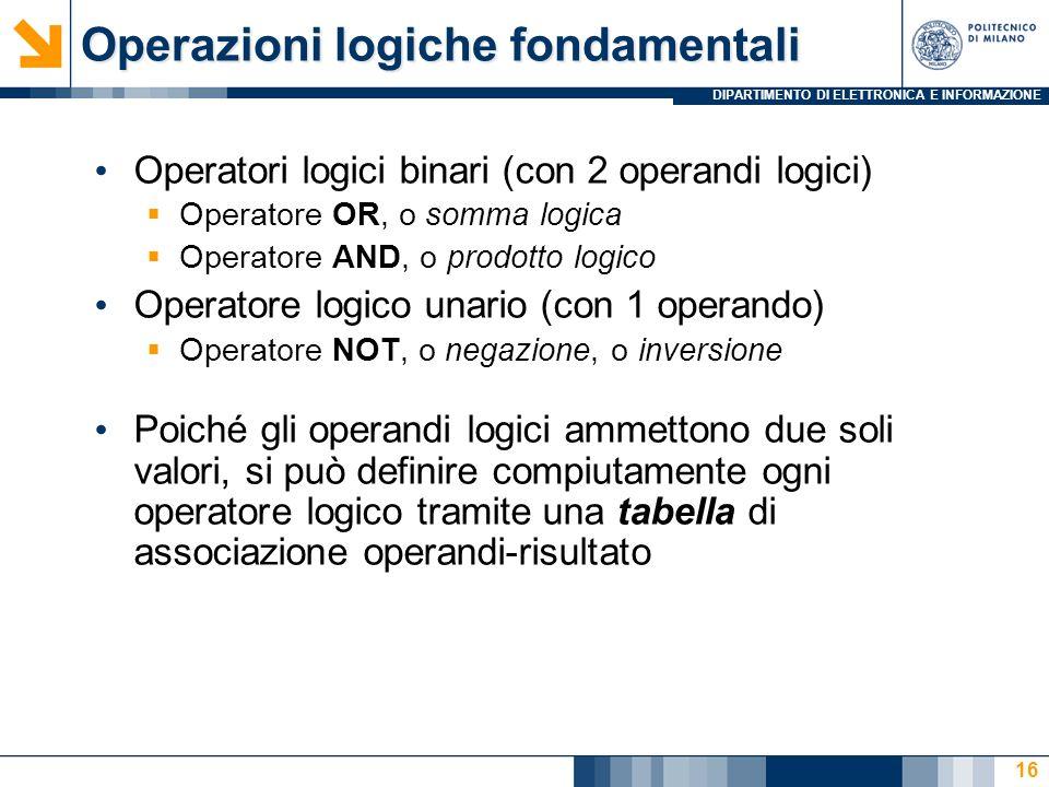 DIPARTIMENTO DI ELETTRONICA E INFORMAZIONE 16 Operatori logici binari (con 2 operandi logici)  Operatore OR, o somma logica  Operatore AND, o prodotto logico Operatore logico unario (con 1 operando)  Operatore NOT, o negazione, o inversione Poiché gli operandi logici ammettono due soli valori, si può definire compiutamente ogni operatore logico tramite una tabella di associazione operandi-risultato Operazioni logiche fondamentali