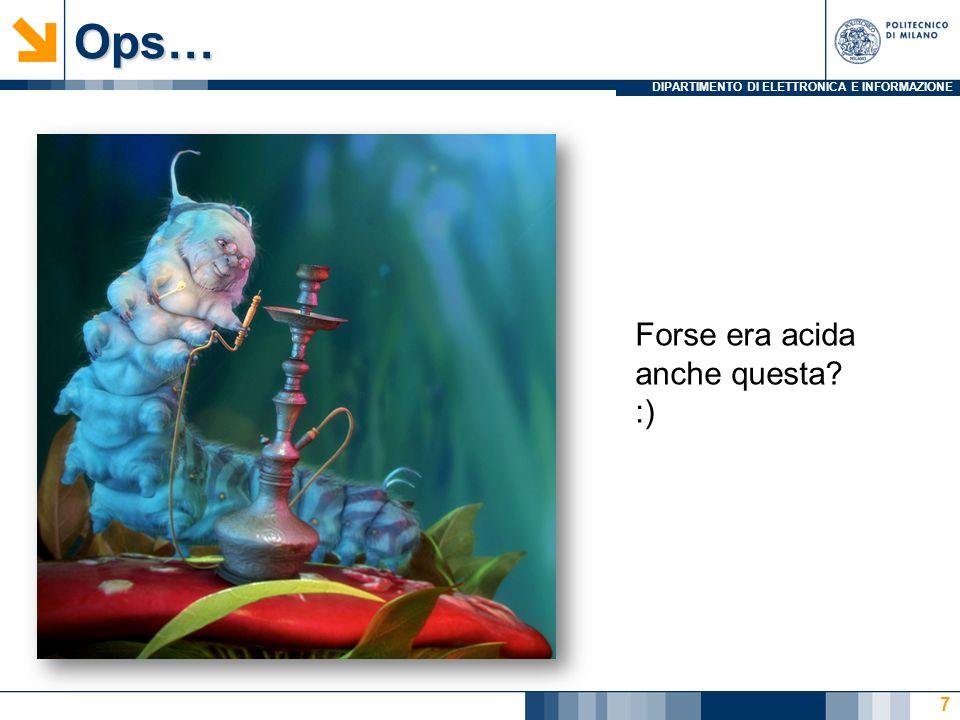DIPARTIMENTO DI ELETTRONICA E INFORMAZIONEOps… 7 Forse era acida anche questa? :)