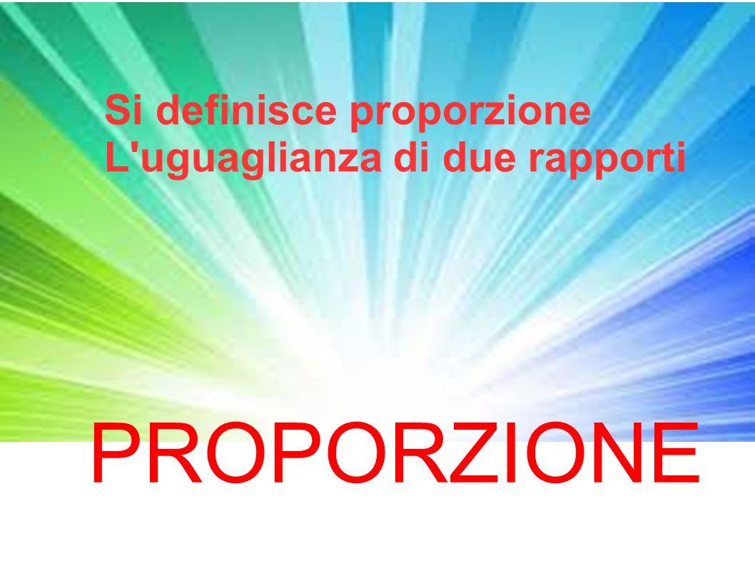 Si definisce proporzione L'uguaglianza di due rapporti PROPORZIONE