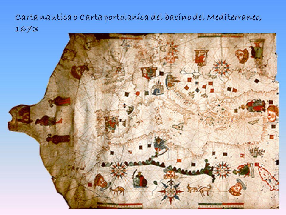 Carta nautica o Carta portolanica del bacino del Mediterraneo, 1673