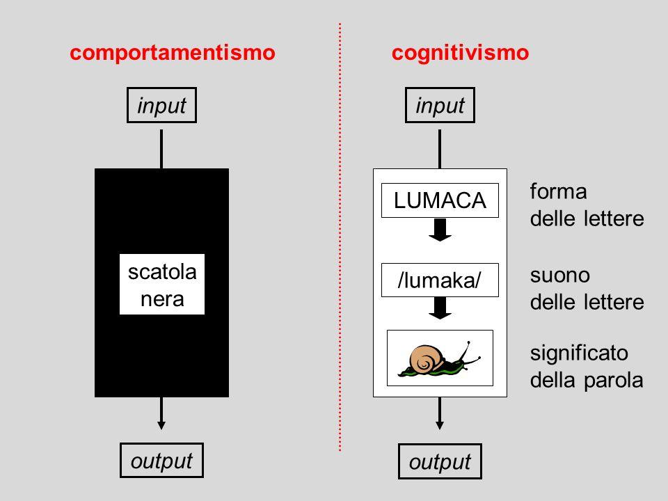 input output scatola nera input forma delle lettere suono delle lettere significato della parola LUMACA /lumaka/ output comportamentismocognitivismo
