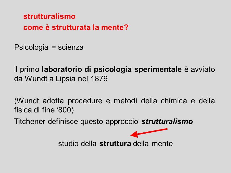 Psicologia = scienza il primo laboratorio di psicologia sperimentale è avviato da Wundt a Lipsia nel 1879 (Wundt adotta procedure e metodi della chimi