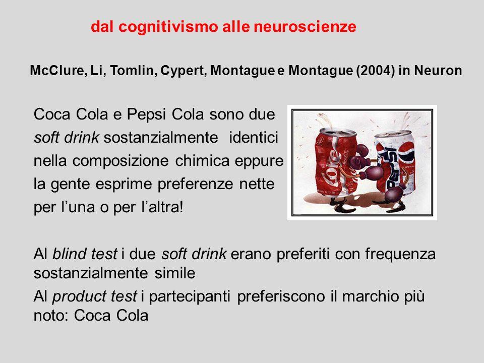 Coca Cola e Pepsi Cola sono due soft drink sostanzialmente identici nella composizione chimica eppure la gente esprime preferenze nette per l'una o pe