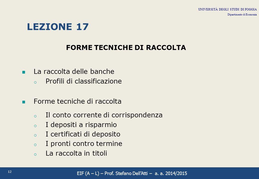 12 LEZIONE 17 FORME TECNICHE DI RACCOLTA La raccolta delle banche o Profili di classificazione Forme tecniche di raccolta o Il conto corrente di corri