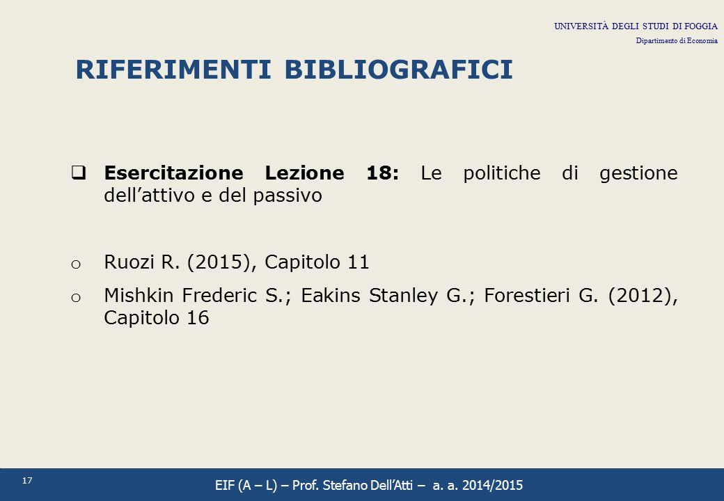 17 RIFERIMENTI BIBLIOGRAFICI  Esercitazione Lezione 18: Le politiche di gestione dell'attivo e del passivo o Ruozi R. (2015), Capitolo 11 o Mishkin F