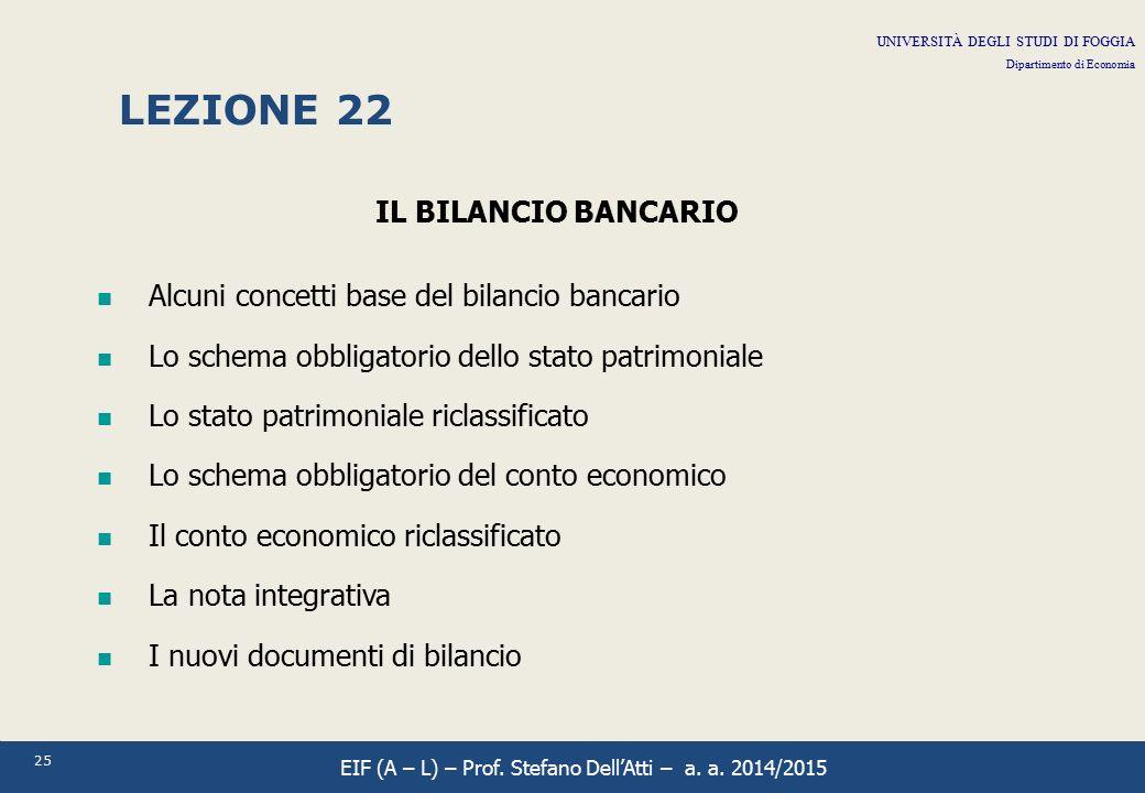 25 LEZIONE 22 IL BILANCIO BANCARIO Alcuni concetti base del bilancio bancario Lo schema obbligatorio dello stato patrimoniale Lo stato patrimoniale ri