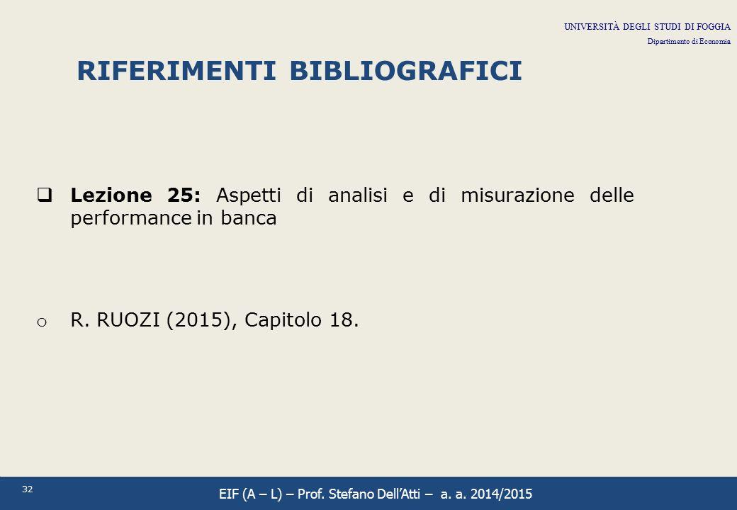 32 RIFERIMENTI BIBLIOGRAFICI  Lezione 25: Aspetti di analisi e di misurazione delle performance in banca o R. RUOZI (2015), Capitolo 18. UNIVERSITÀ D