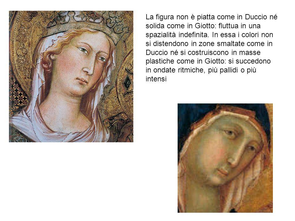 La figura non è piatta come in Duccio né solida come in Giotto: fluttua in una spazialità indefinita. In essa i colori non si distendono in zone smalt